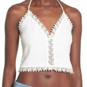 Leith cute lace detailed ivory cropped tank top
